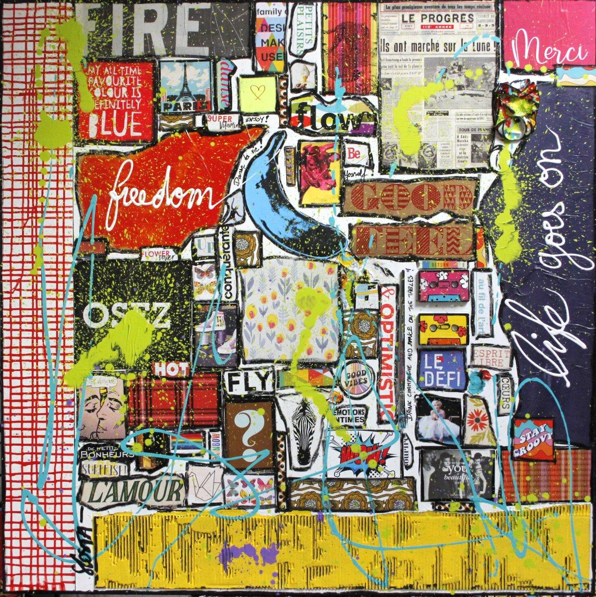 collage, positif, la vie continue Tableau Contemporain, Life goes on ! #2. Sophie Costa, artiste peintre.