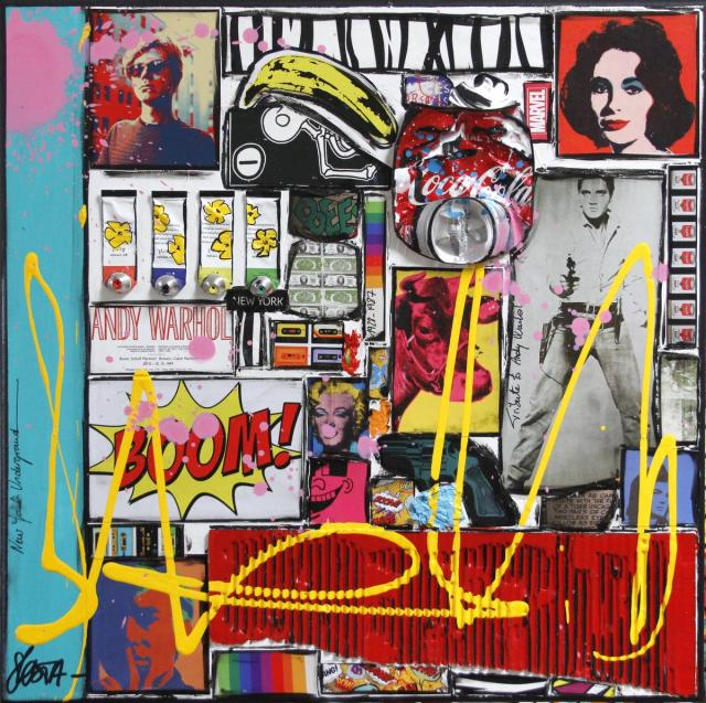 collage, pop art, warhol Tableau Contemporain, Warhol Attitude. Sophie Costa, artiste peintre.