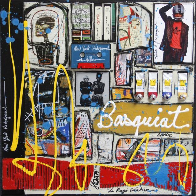 collage, new york, basquiat Tableau Contemporain, Basquiat Attitude. Sophie Costa, artiste peintre.