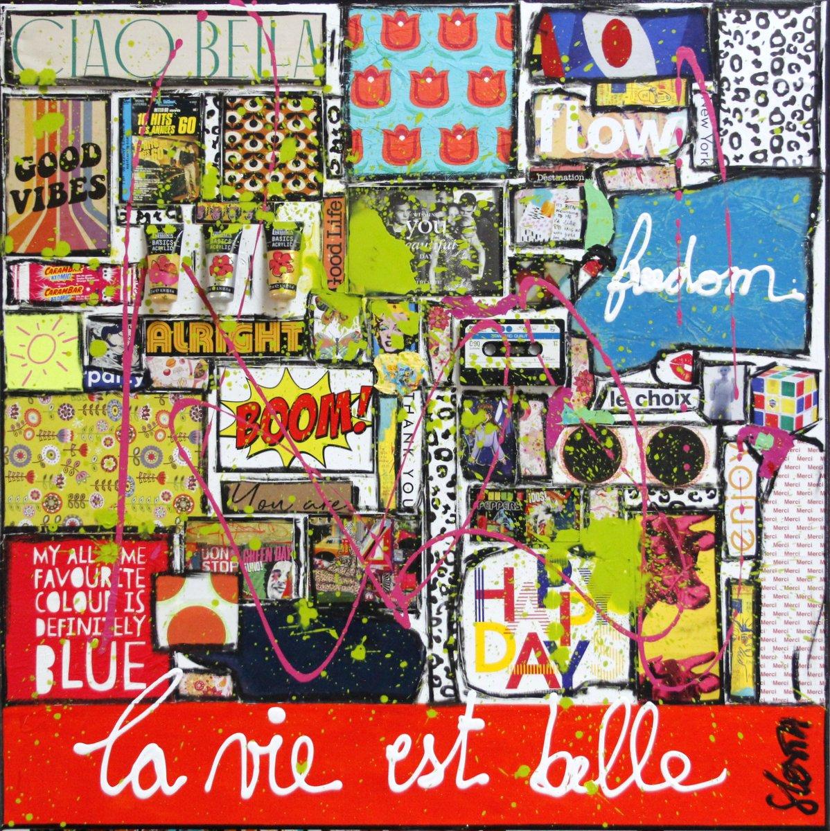 collage, multicolore, la vie est belle Tableau Contemporain, La vie est belle. Sophie Costa, artiste peintre.