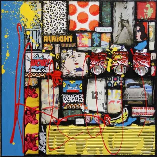collage, pop art, america Tableau Contemporain, WOW !. Sophie Costa, artiste peintre.