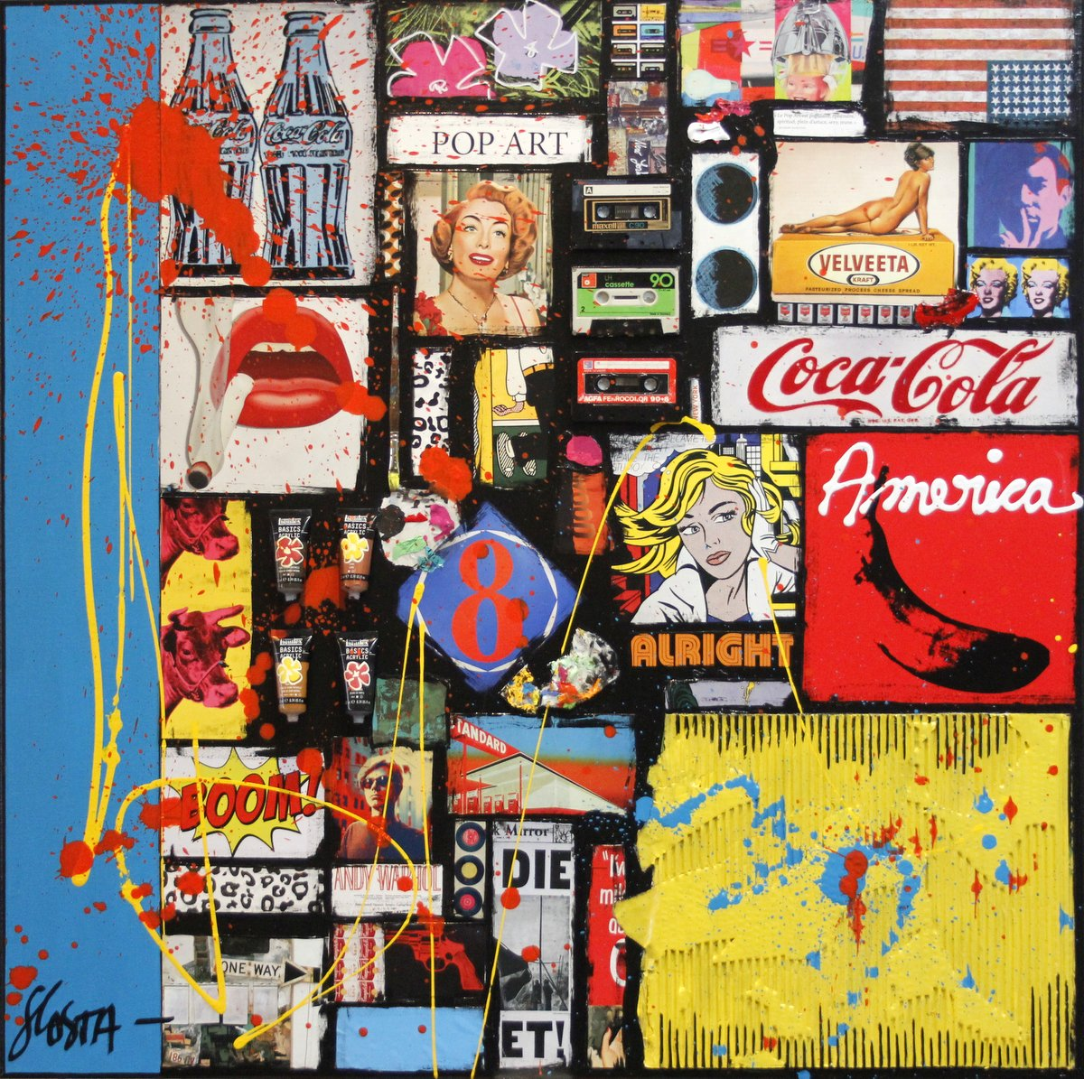collage multicolore, pop america, vintage Tableau Contemporain, POP AMERICA # 3. Sophie Costa, artiste peintre.