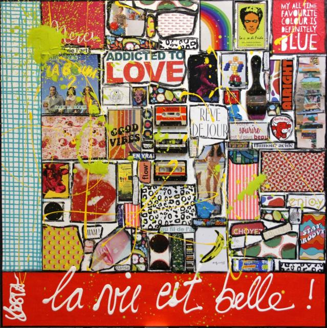 collage, multicolore, enjoy Tableau Contemporain, Merci, la vie est belle !. Sophie Costa, artiste peintre.