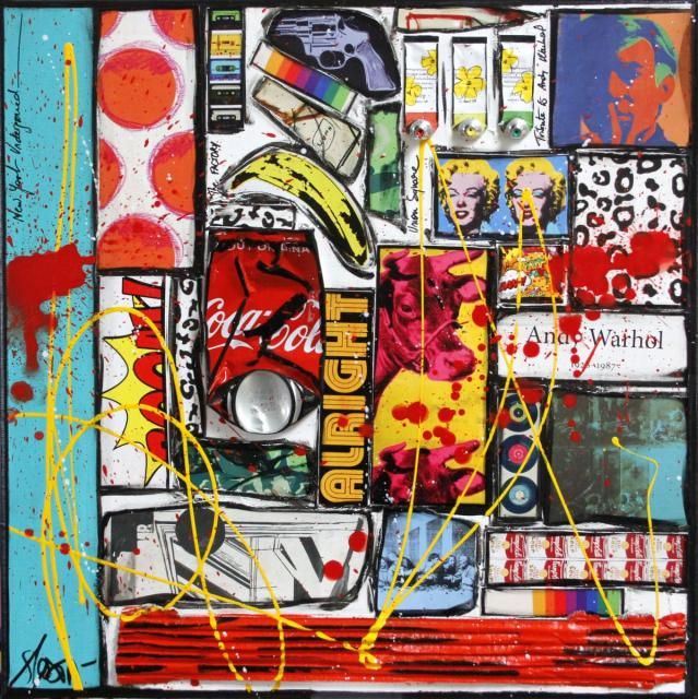 collage, andy warhol Tableau Contemporain, Alright Andy !. Sophie Costa, artiste peintre.