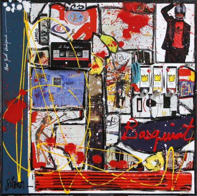 collage, basquiat Tableau Contemporain, Basquiat, le roi de la rue.. Sophie Costa, artiste peintre.