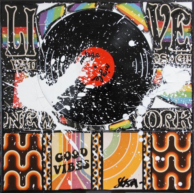 collage, vintage, vinyle Tableau Contemporain, Vintage Vinyle. Sophie Costa, artiste peintre.