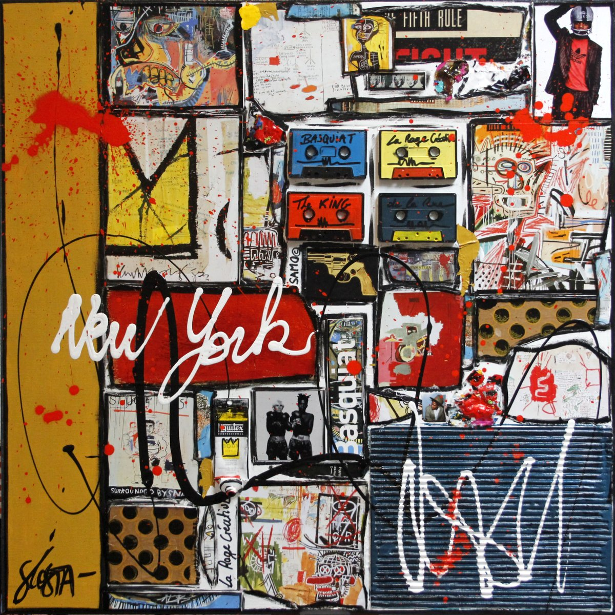 collage, new york, basquiat Tableau Contemporain, Basquiat à New York. Sophie Costa, artiste peintre.