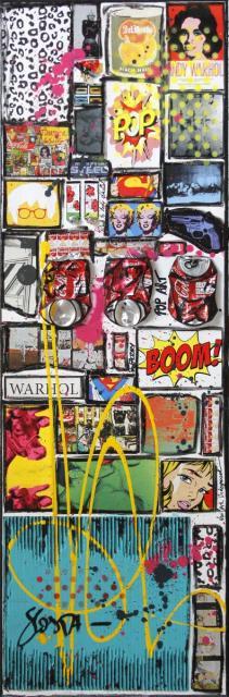 collage, pop art, warhol Tableau Contemporain, POP by WARHOL. Sophie Costa, artiste peintre.
