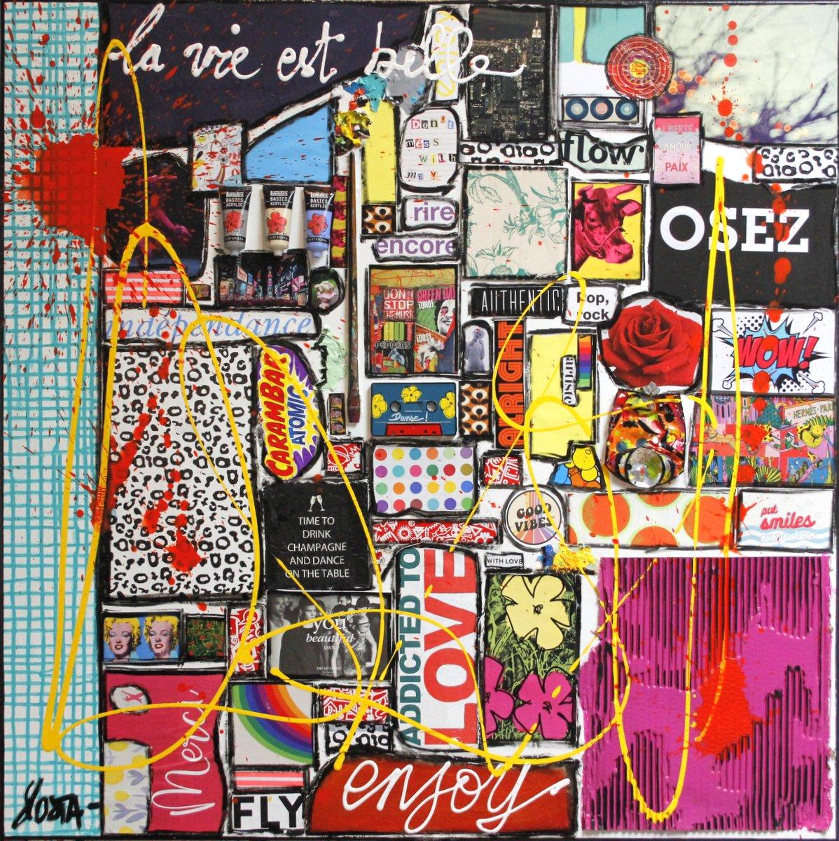 collage, multicolore, la vie est belle Tableau Contemporain, Osez, la vie est belle # 2. Sophie Costa, artiste peintre.