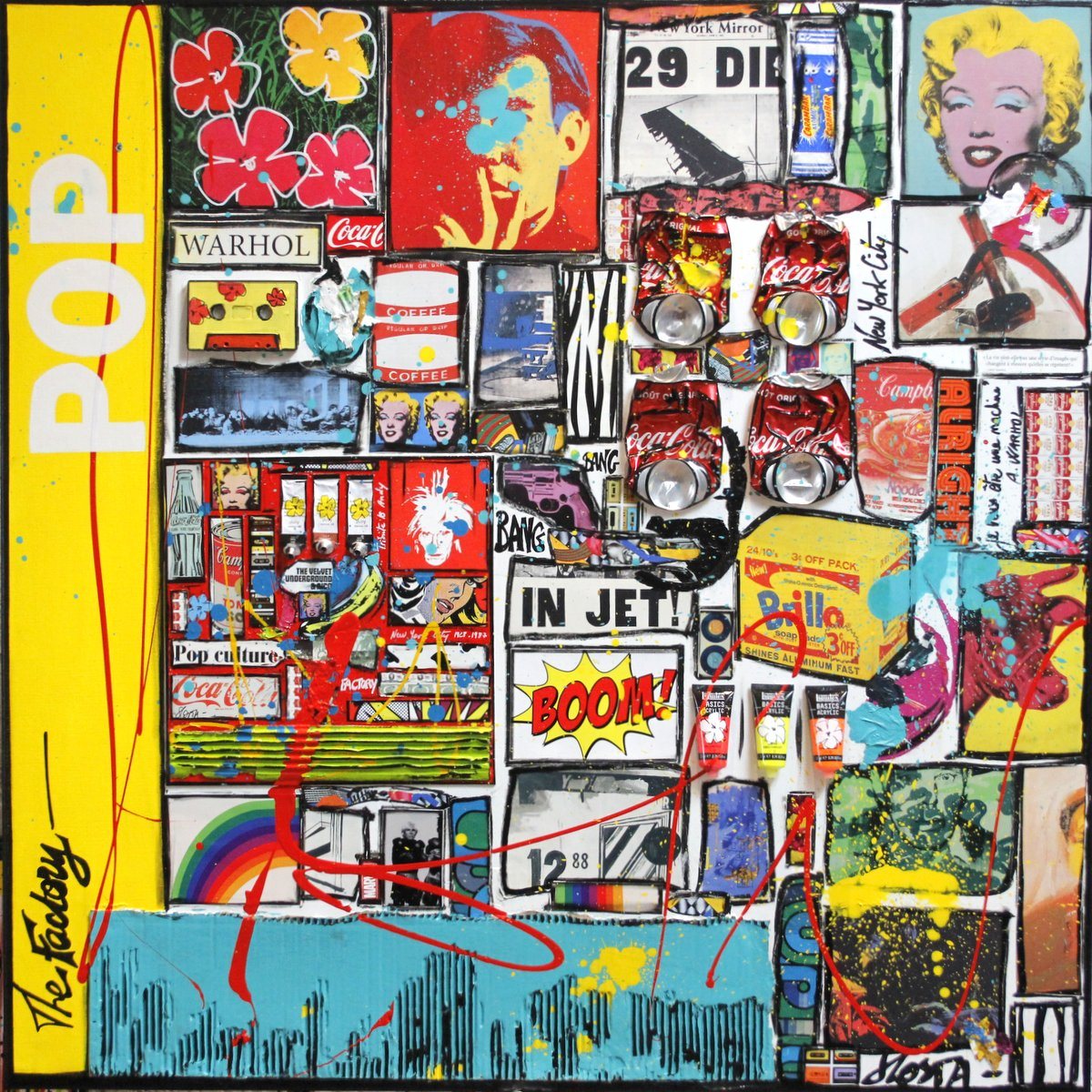 pop art, warhol, collage Tableau Contemporain, POP INCEPTION. Sophie Costa, artiste peintre.