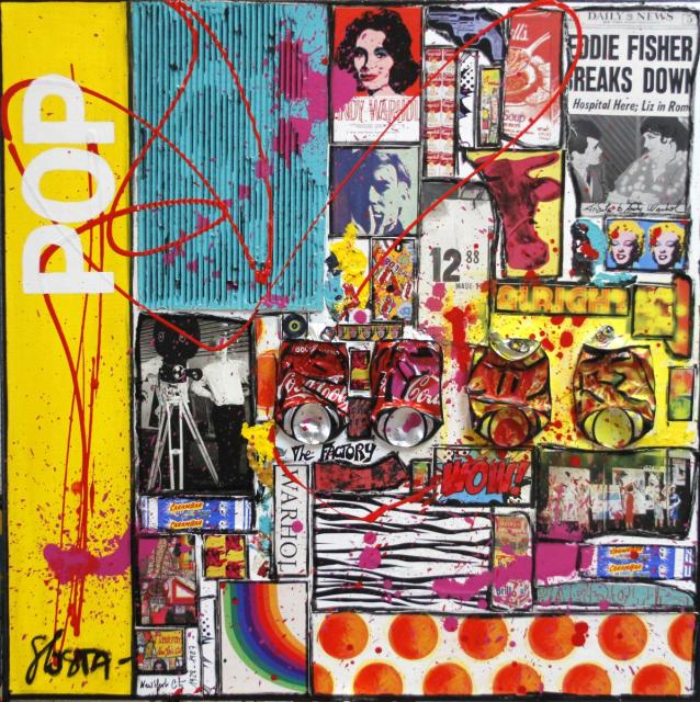 pop art, warhol, collage Tableau Contemporain, POP by WARHOL. Sophie Costa, artiste peintre.