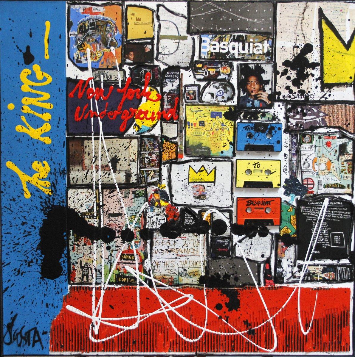 collage, basquiat Tableau Contemporain, The KING. Sophie Costa, artiste peintre.
