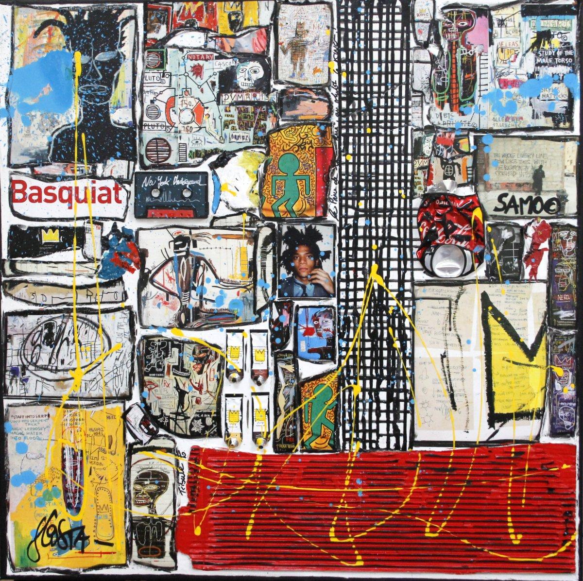 basquiat, collage, coloré Tableau Contemporain, Basquiat underground. Sophie Costa, artiste peintre.