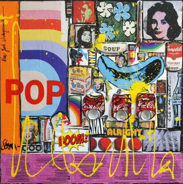 pop art, collage, multicolore Tableau Contemporain, POP !. Sophie Costa, artiste peintre.