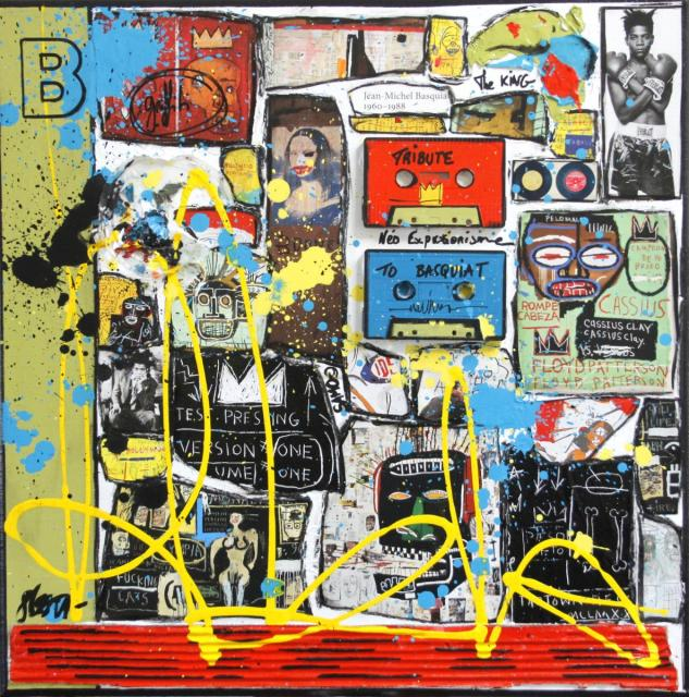 basquiat, collage, multicolore Tableau Contemporain, B comme Basquiat. Sophie Costa, artiste peintre.