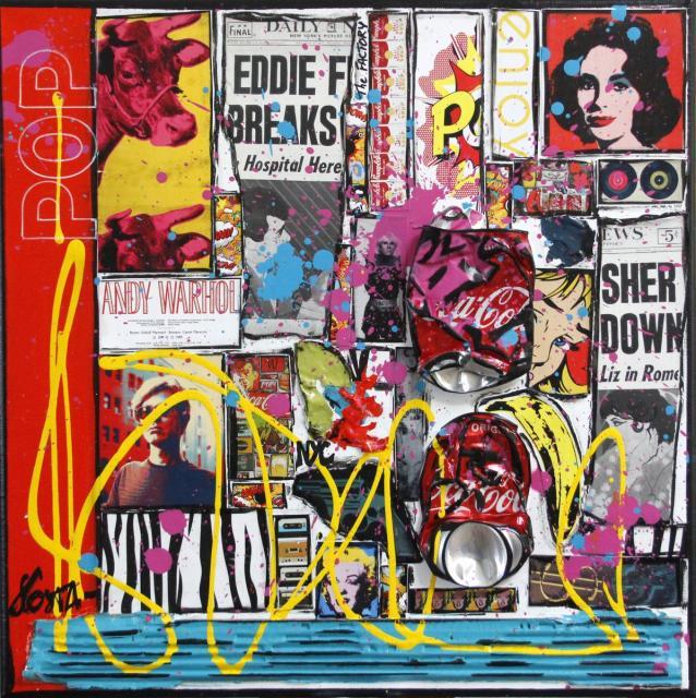 collage, pop art, maulticolore Tableau Contemporain, POP. Sophie Costa, artiste peintre.