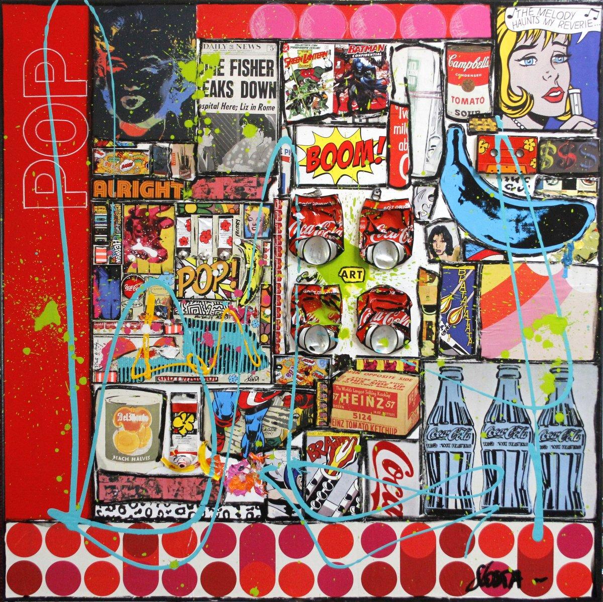 pop art, collage, multicolore Tableau Contemporain, RED POP. Sophie Costa, artiste peintre.