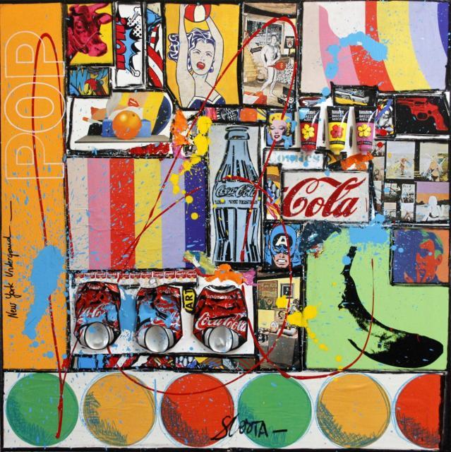 pop art, collage, multicolore Tableau Contemporain, BUBBLE  POP. Sophie Costa, artiste peintre.