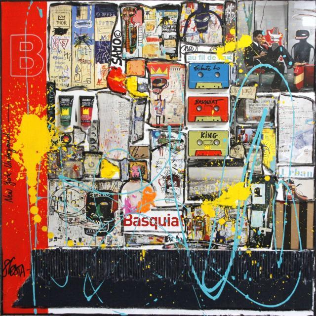 collage, basquiat, multicolore Tableau Contemporain, B. Sophie Costa, artiste peintre.
