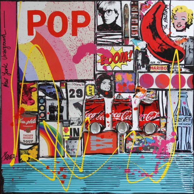 collage, pop art, multicolore Tableau Contemporain, Red Banana. Sophie Costa, artiste peintre.