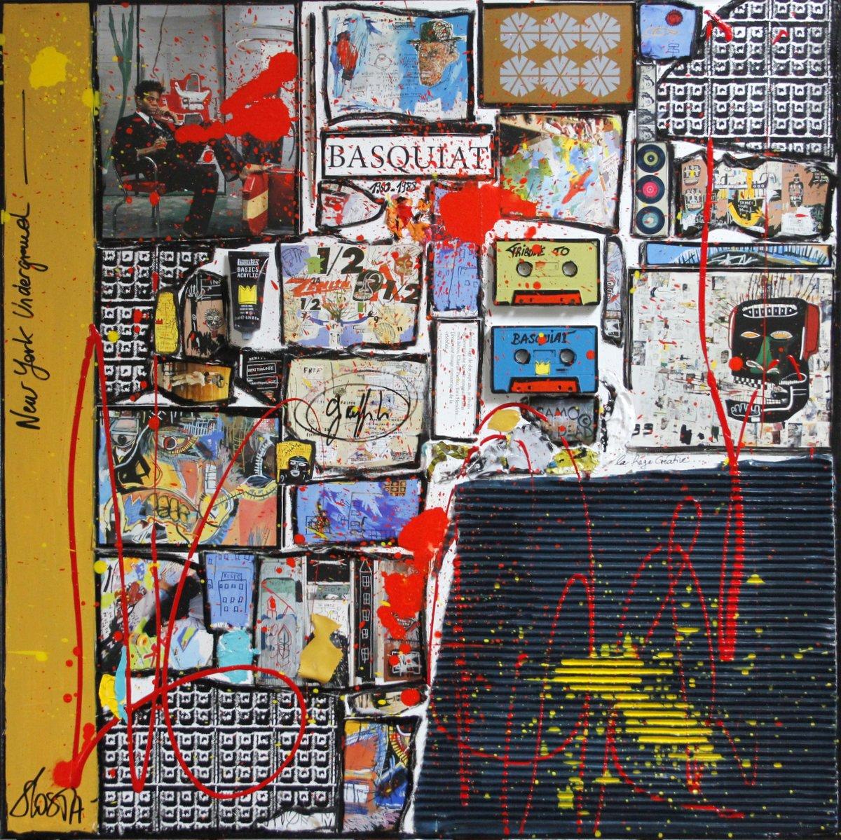 collage, basquiat, new york Tableau Contemporain, Basquiat, the one !. Sophie Costa, artiste peintre.