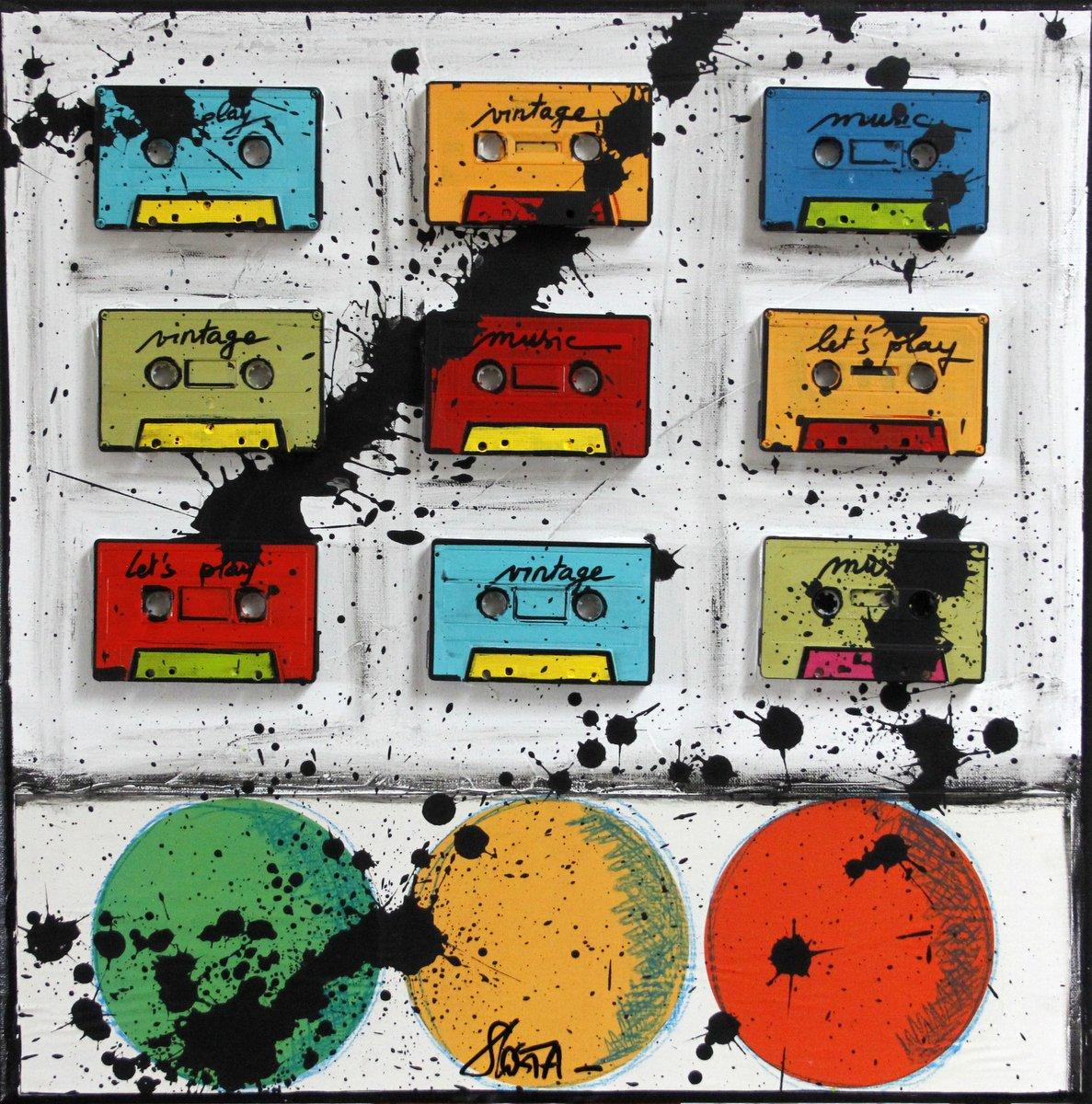 collage, cassette audio, vintage, music Tableau Contemporain, Bubble tape. Sophie Costa, artiste peintre.