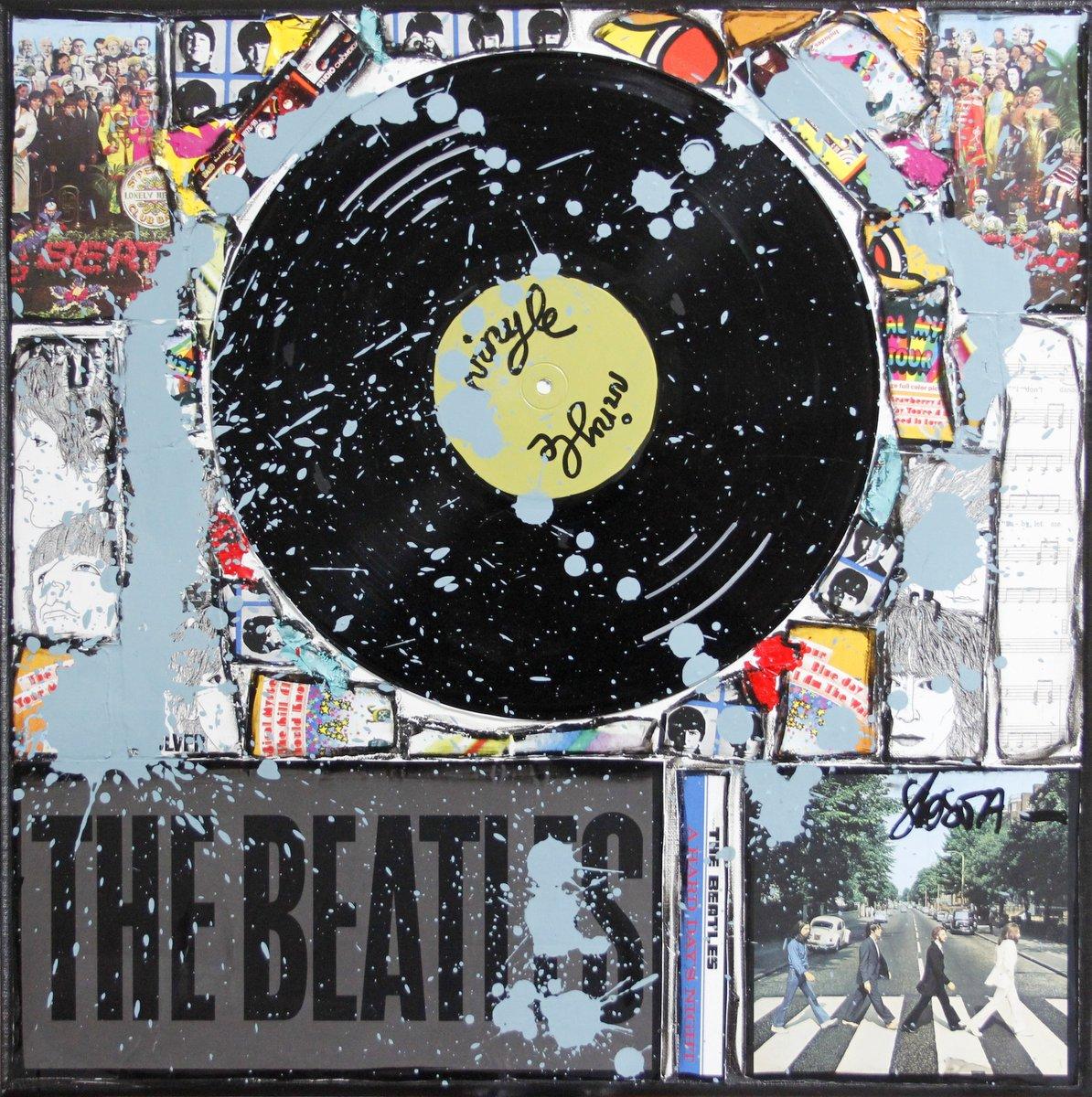 vinyle, beatles collage Tableau Contemporain, Blue Beatles. Sophie Costa, artiste peintre.