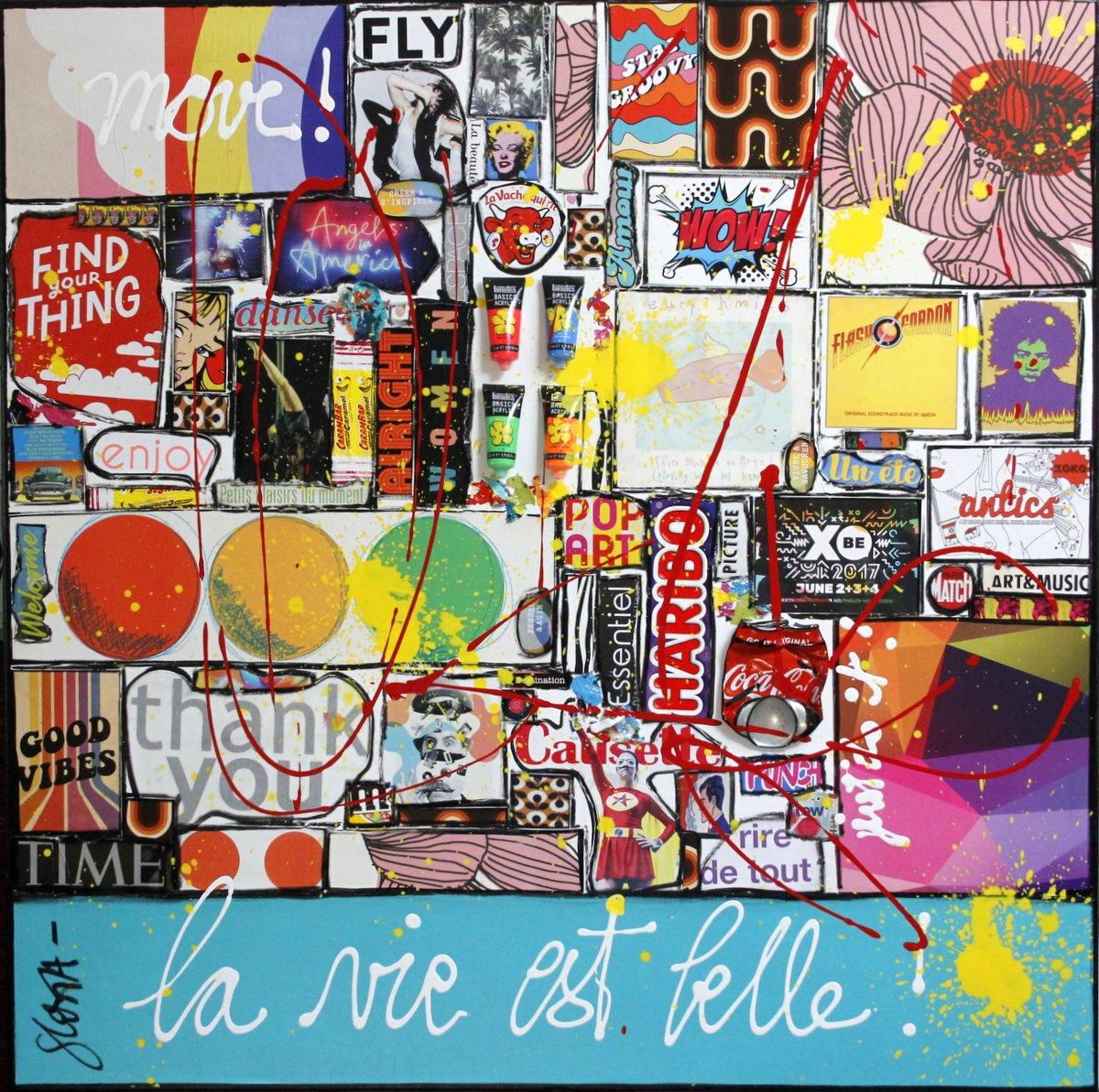 collage, multicolore, enjoy Tableau Contemporain, La vie est belle # 3. Sophie Costa, artiste peintre.
