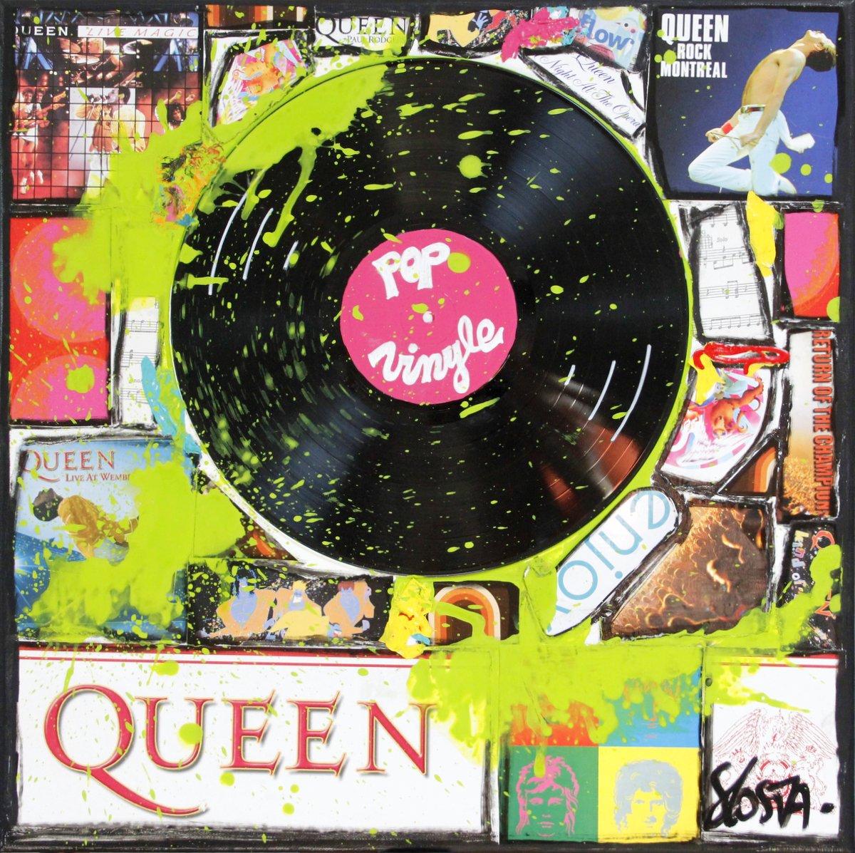collage, vintage, vinyle, queen , music Tableau Contemporain, Queen Vinyle. Sophie Costa, artiste peintre.