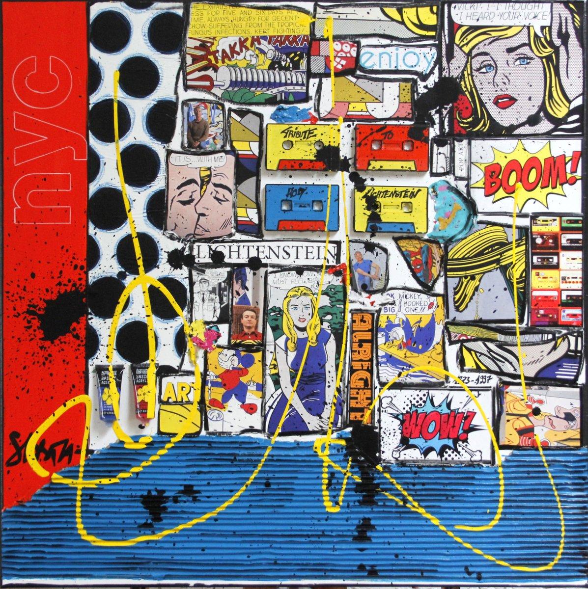 roy lichtenstein, collage Tableau Contemporain, BOOM !. Sophie Costa, artiste peintre.