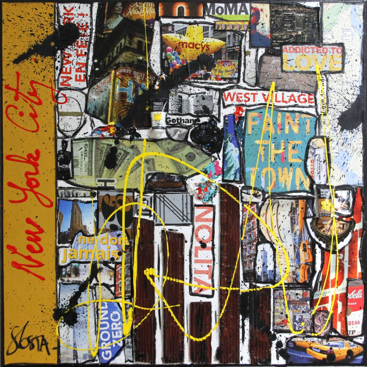 collage, new york Tableau Contemporain, Back to NYC. Sophie Costa, artiste peintre.