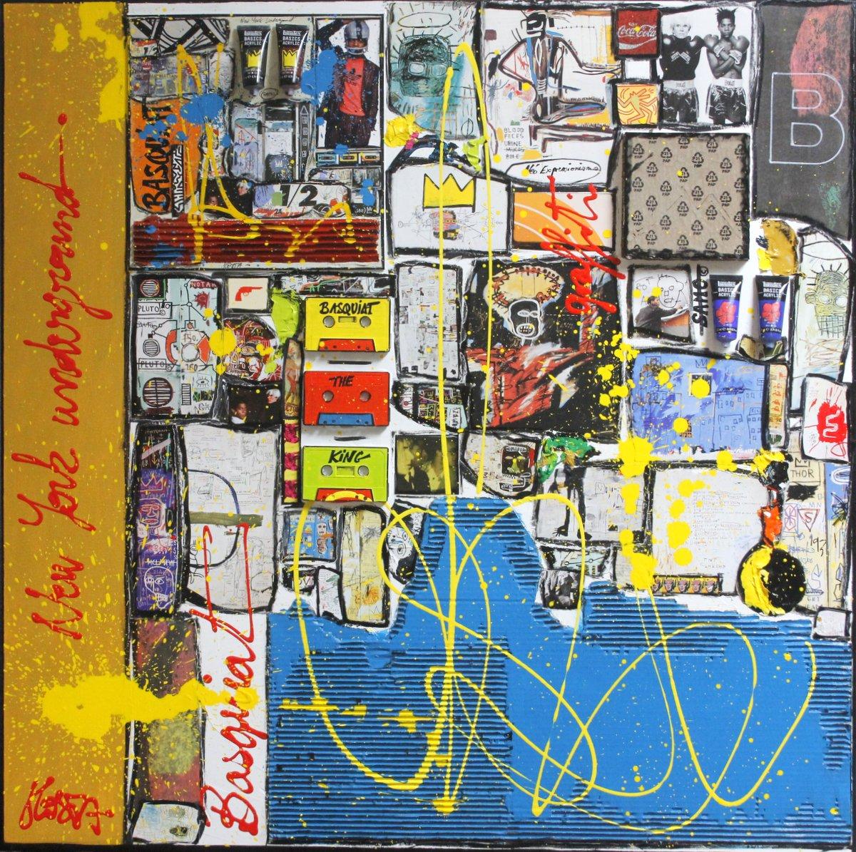 basquiat, collage Tableau Contemporain, Basquiat Inception # 2. Sophie Costa, artiste peintre.