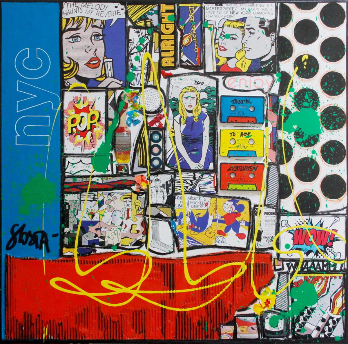 Tableau Contemporain, BRAD, tribute to R. Lichtenstein. Sophie Costa, artiste peintre.