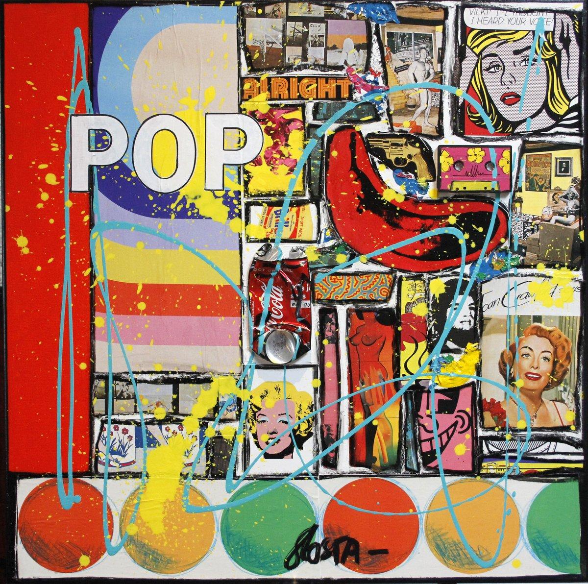 collage, pop art Tableau Contemporain, POP FOREVER. Sophie Costa, artiste peintre.