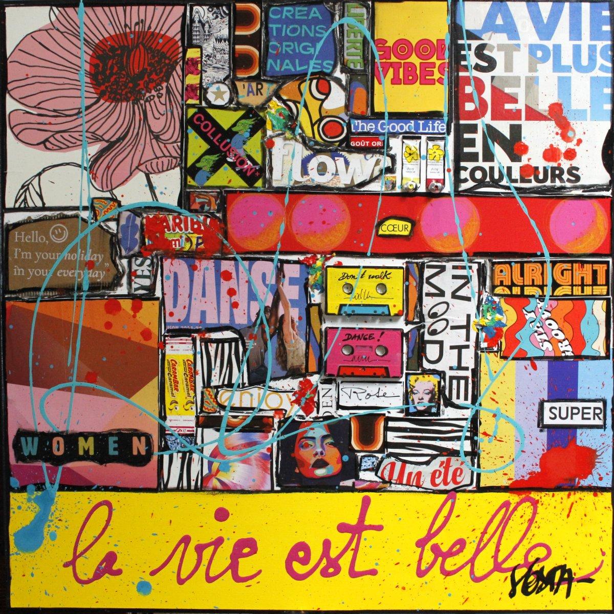 collage, multicolore, enjoy Tableau Contemporain, La vie est belle #4. Sophie Costa, artiste peintre.