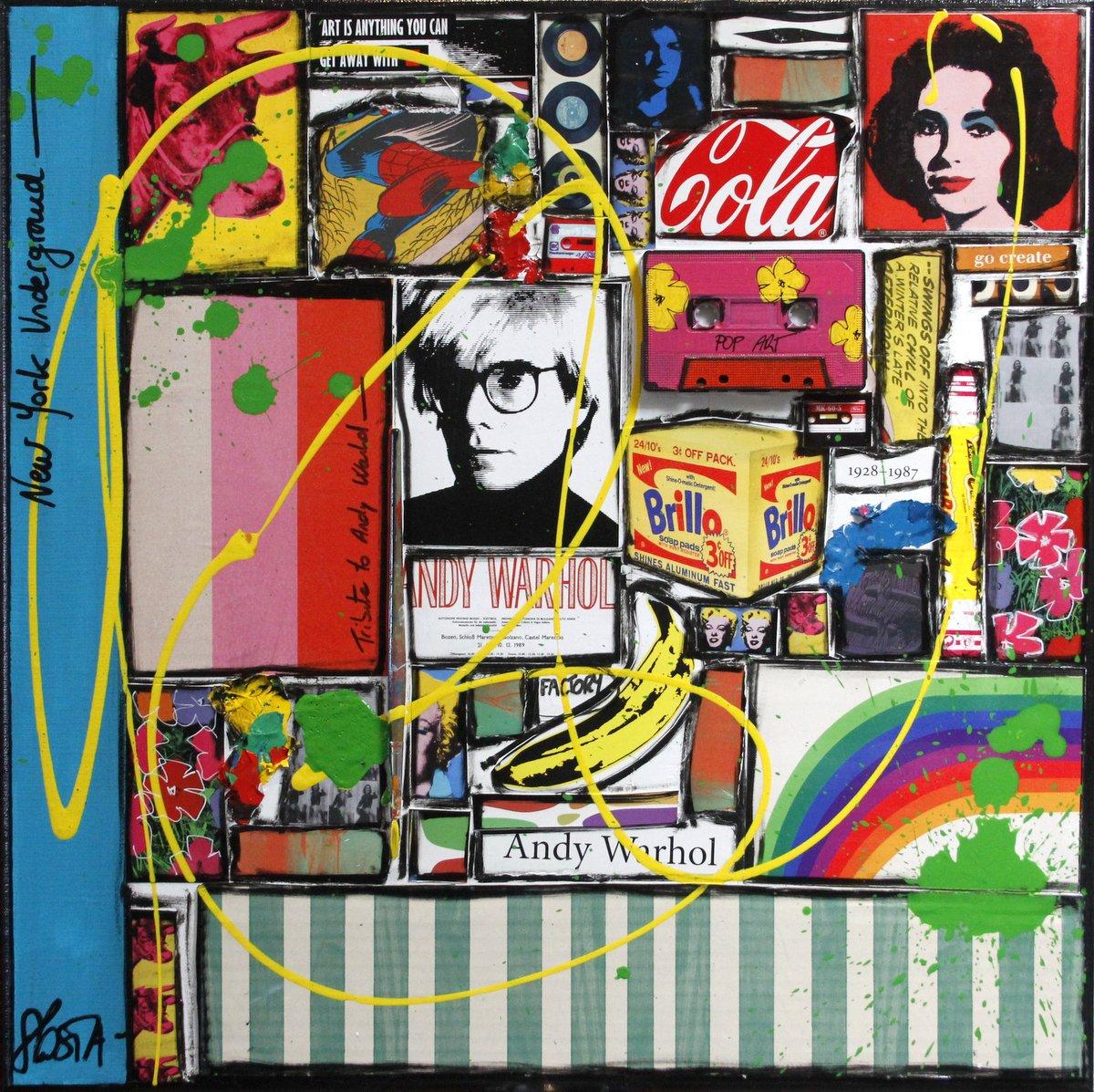 collage, multicolore, andy warhol Tableau Contemporain, Tribute to A. Sophie Costa, artiste peintre.