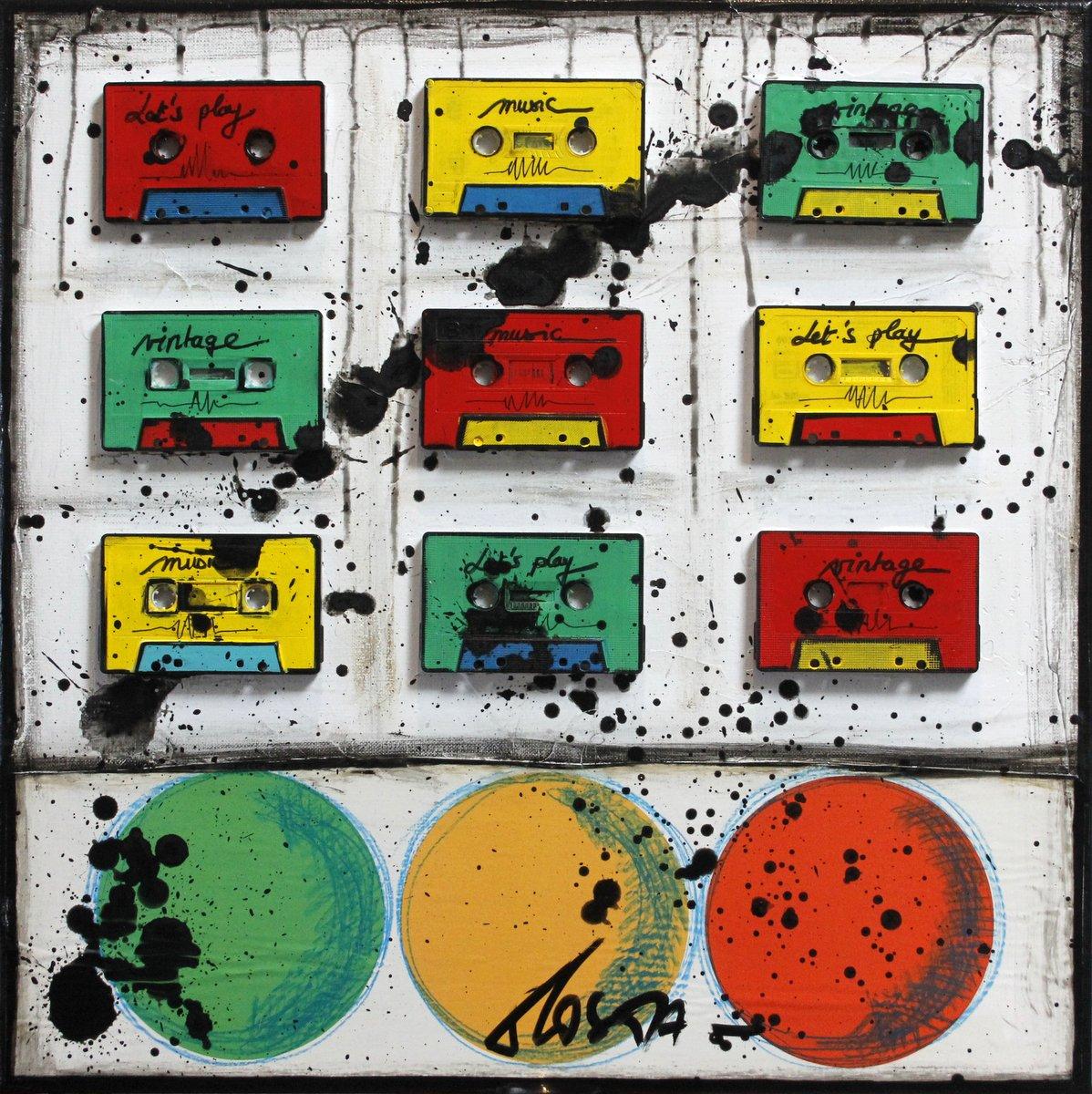 collage, cassettes audio, vintage music Tableau Contemporain, Bubble tape # 2. Sophie Costa, artiste peintre.