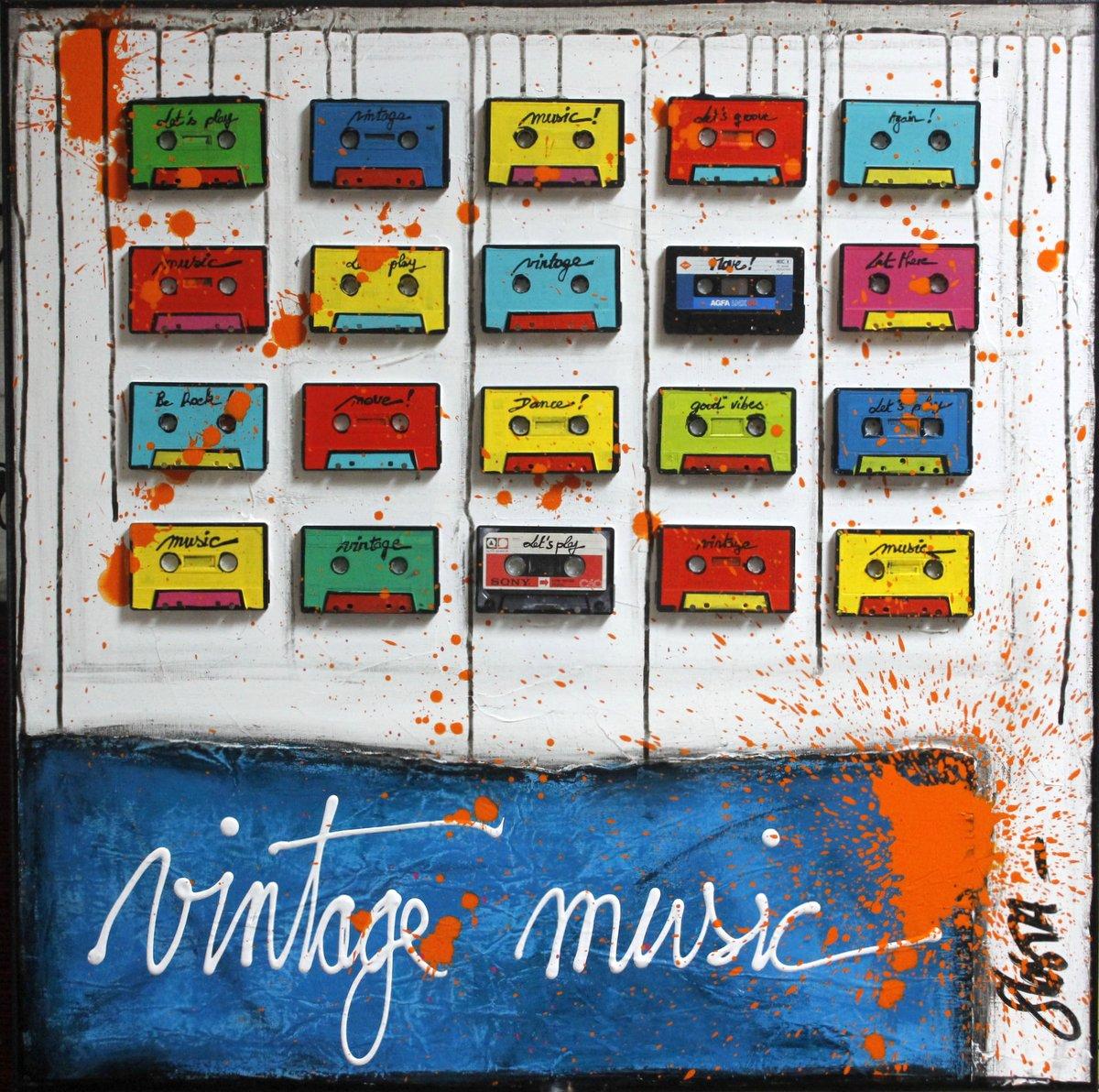 collage, cassettes audio, multicolore, music Tableau Contemporain, Vintage Music. Sophie Costa, artiste peintre.