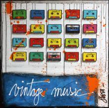 Tableau Vintage Music : Artiste peintre Sophie Costa