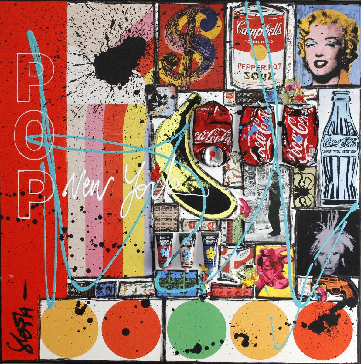 collage, pop art, multicolore, warhol Tableau Contemporain, POP NY. Sophie Costa, artiste peintre.
