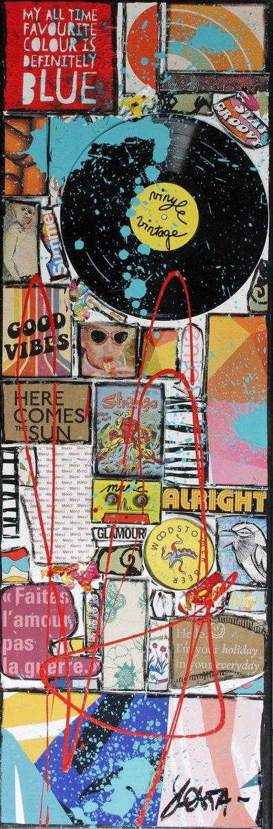 collage, multicolore, music, vinyle, positif Tableau Contemporain, GOOD VIBES. Sophie Costa, artiste peintre.