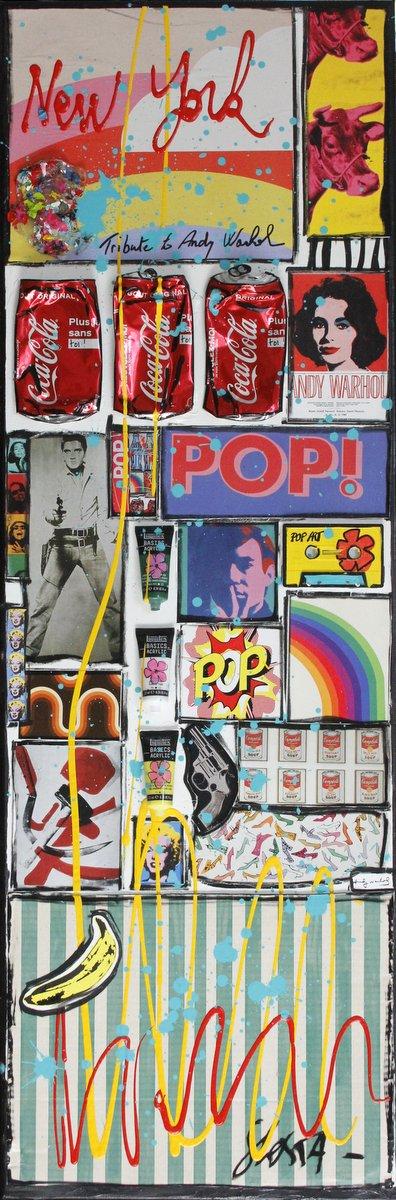 collage, multicolre, warhol, pop art Tableau Contemporain, WARHOL ONLY. Sophie Costa, artiste peintre.