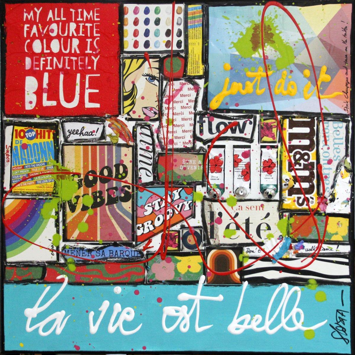 enjoy, collage, la vie est belle Tableau Contemporain, la vie est belle. Sophie Costa, artiste peintre.