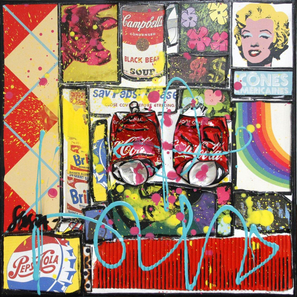 collage, warhol, pop art Tableau Contemporain, POP. Sophie Costa, artiste peintre.
