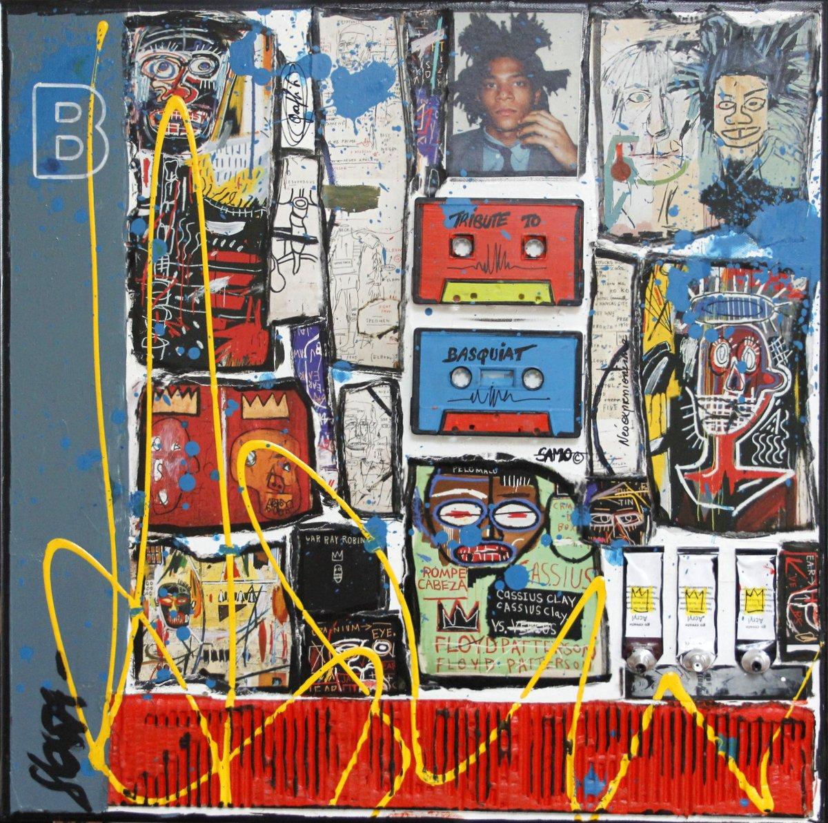 collage, basquiat Tableau Contemporain, B. Sophie Costa, artiste peintre.