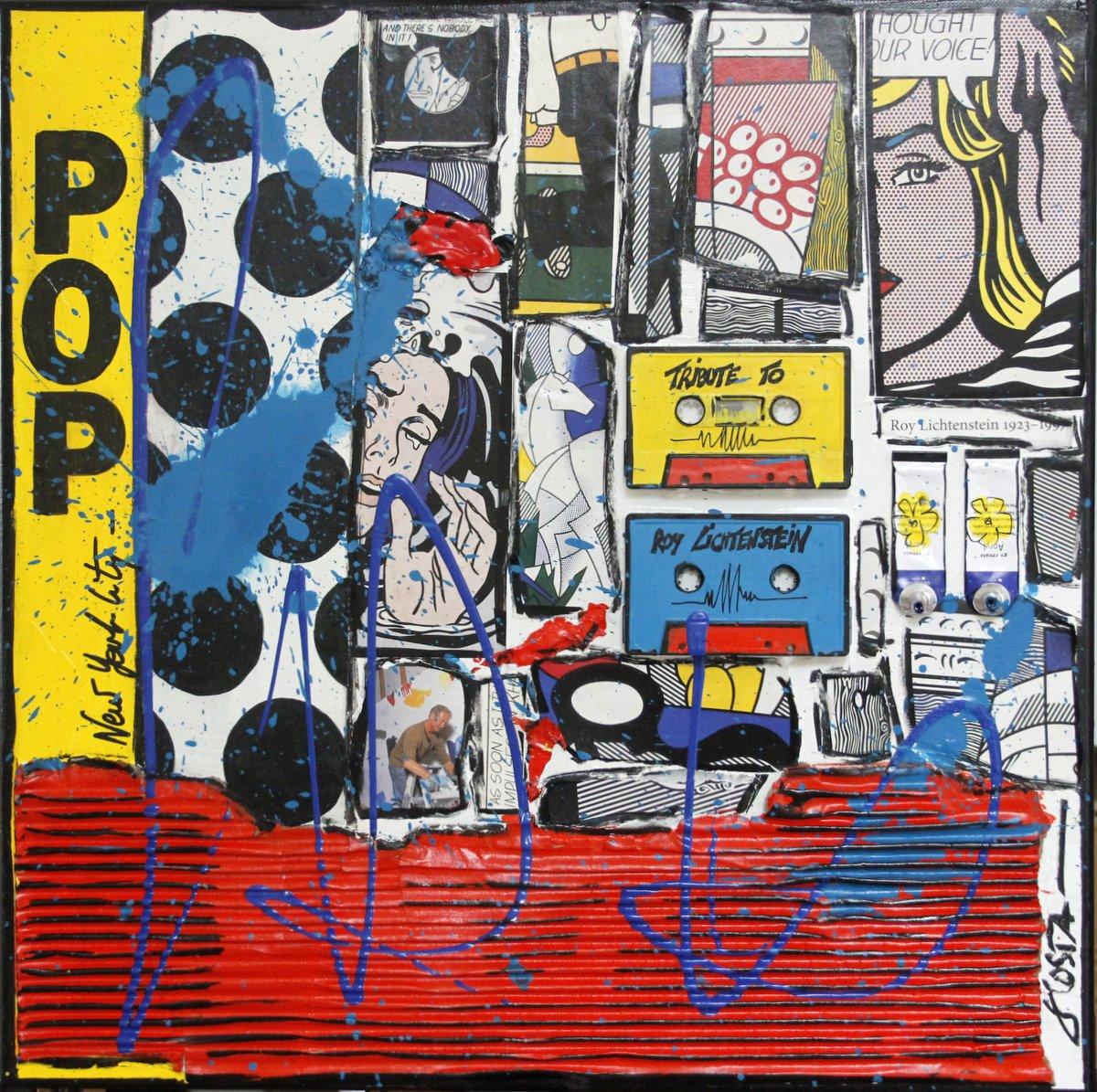 collage, roy lichtenstein Tableau Contemporain, POP ROY. Sophie Costa, artiste peintre.