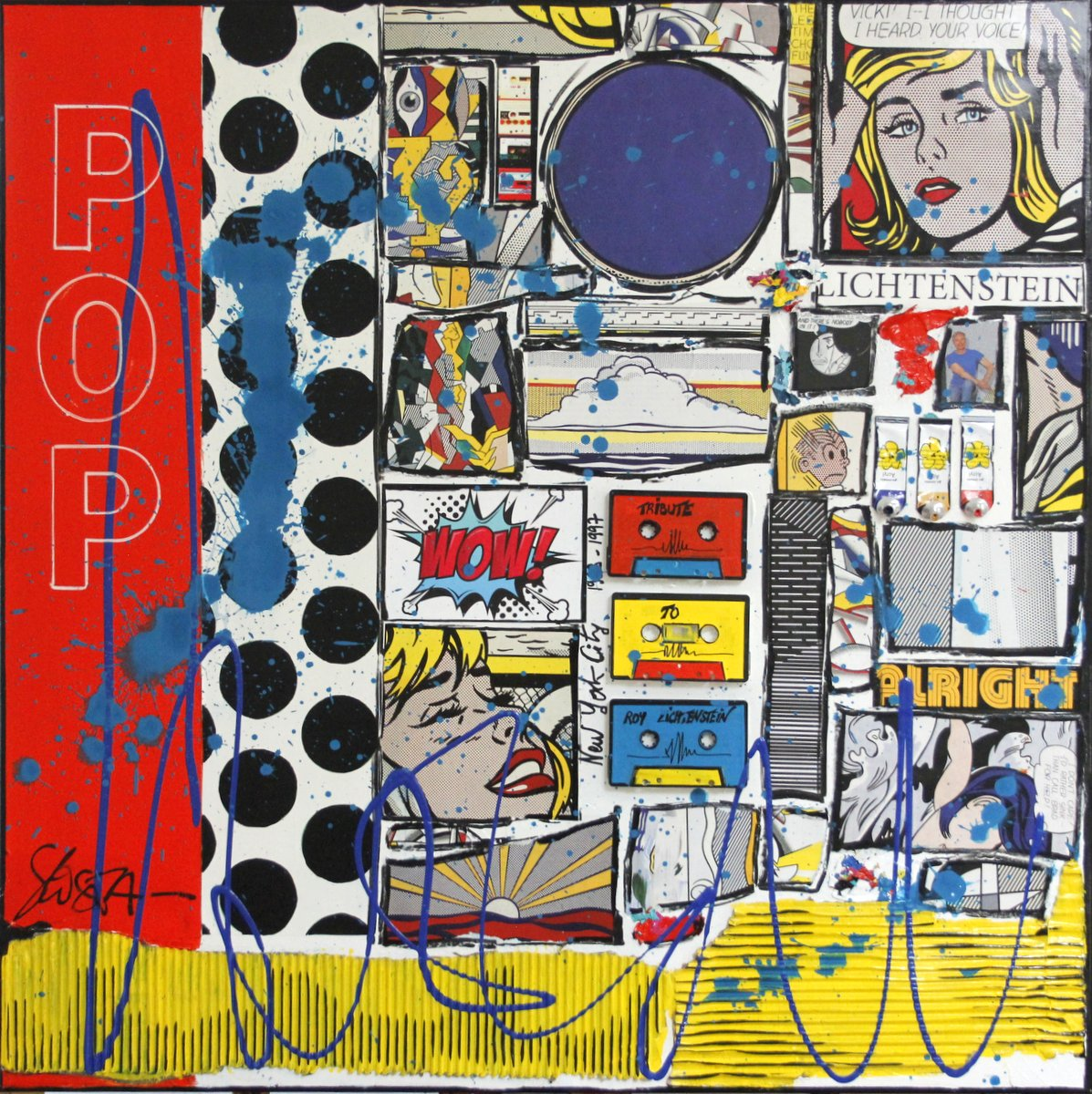 collage, roy lichtenstein Tableau Contemporain, WOW, tribute to R.Lichtenstein. Sophie Costa, artiste peintre.