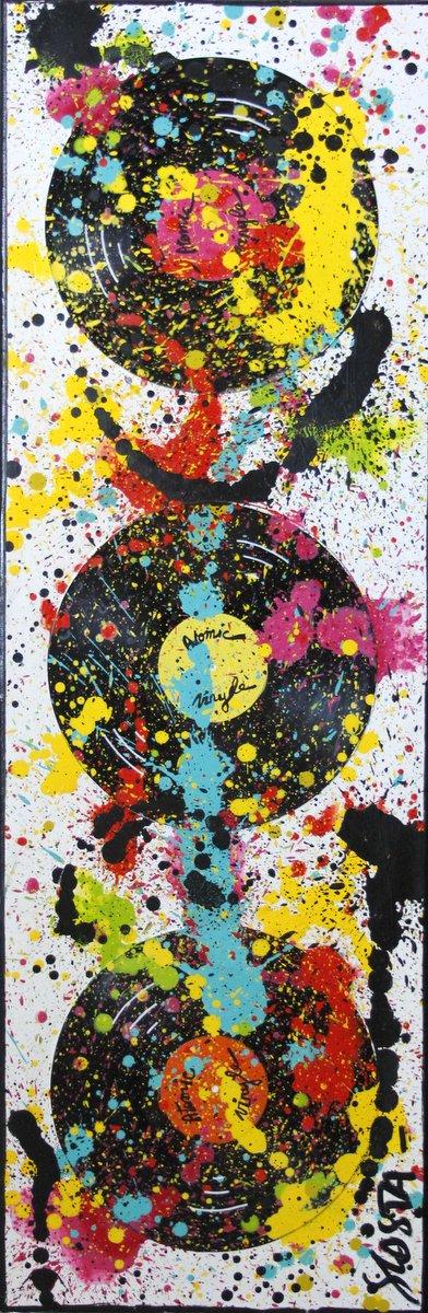 collage, vinyles, couleurs Tableau Contemporain, Explosive vinyles. Sophie Costa, artiste peintre.